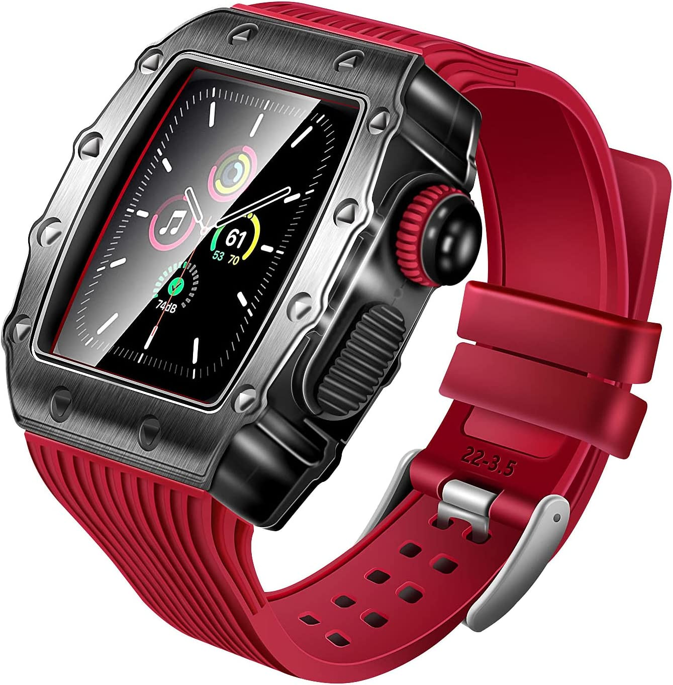 Metal Case for Apple Watch 6 Band 44mm Protective Rugged Bumper Cover with Tempered Glass Screen Protector Silicone Strap for iWatch Series 5 4 Accessories Mens Heavy Duty Shockproof Case Film (Red)