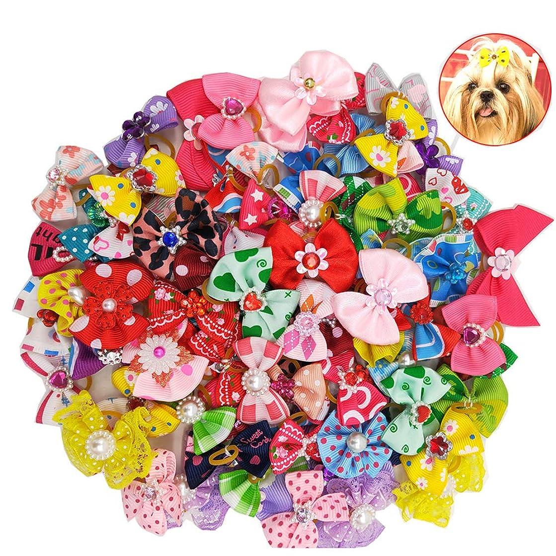 悪性下香りBalacoo 50個入り多色犬の髪の弓とゴムバンド弾性髪のバンドちょう結び帽子の帽子猫の犬のための(混合色)
