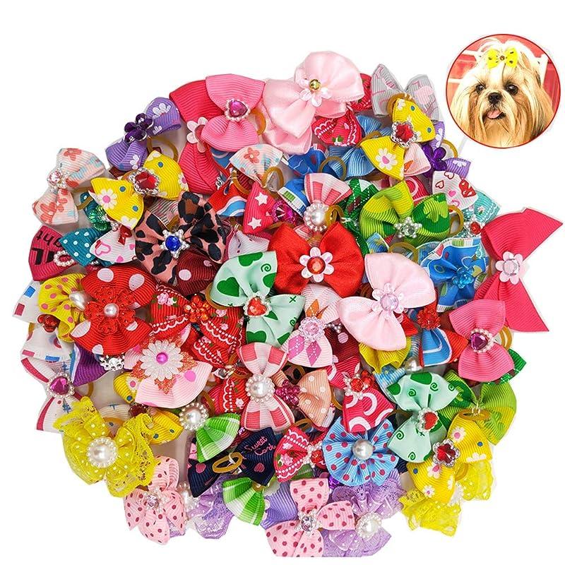 沈黙ホステス灌漑Balacoo 50個入り多色犬の髪の弓とゴムバンド弾性髪のバンドちょう結び帽子の帽子猫の犬のための(混合色)