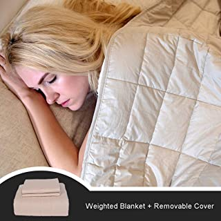"""CJXM Twin Size Weighted Blanket & Cover (13 lbs,48""""x80"""",12 Loops,400 Thread Coun) 3.0 Luxury Cotton Heavy Blanket Weighted for Kids,Teens,Adults, Twin Size Bed"""