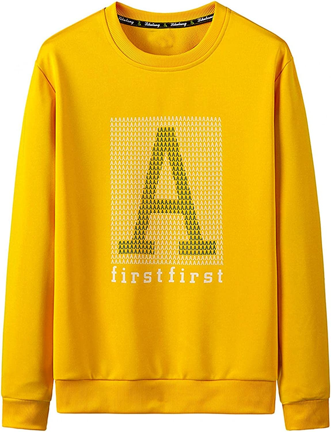 Men's Crewneck Sweatshirts Letter Print Fashion Casual Soft Sport Pullover Athletic Workout Gym Running Lightweight Tops