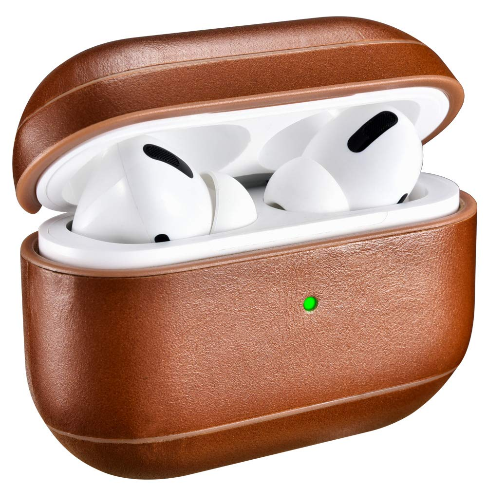 AirPods Pro Case, ICARER Airpod Pro Leather Case Genuine Leather Portable Protective Shockproof Cover for Apple AirPods Pro Support Wireless Charging and Led Visible (Brown)