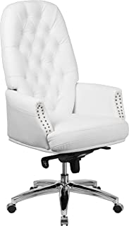 Flash Furniture High Back Traditional Tufted White Leather Multifunction Executive Swivel Ergonomic Office Chair with Arms