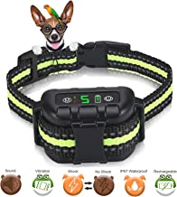 Nycetek Dog Bark Collar, Smart Triggering Dog Training Collar Bark Control Devices for 8lbs-120lbs Dogs, Rechargeable Anti Bark Collar with Adjustable Collar Size and 2 Training Modes (Black & Green)