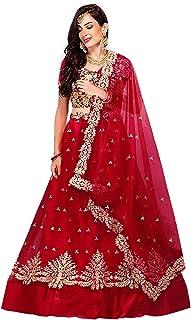 Ocean Fashion Women's Red Heavy Embroidered Lehenga Choli