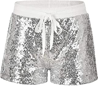 Whitive Women's Drawstring Nightclub Style Stylish Sexy Sequin Hot Pants