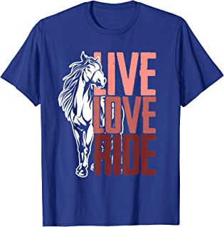 Live Love Ride Girls Shirt Horseback Equestrian Love Horses