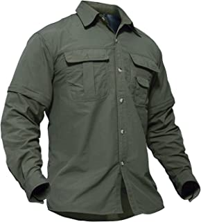 TACVASEN Men's Breathable Quick Dry UV Protection Solid Long Sleeve Shirt