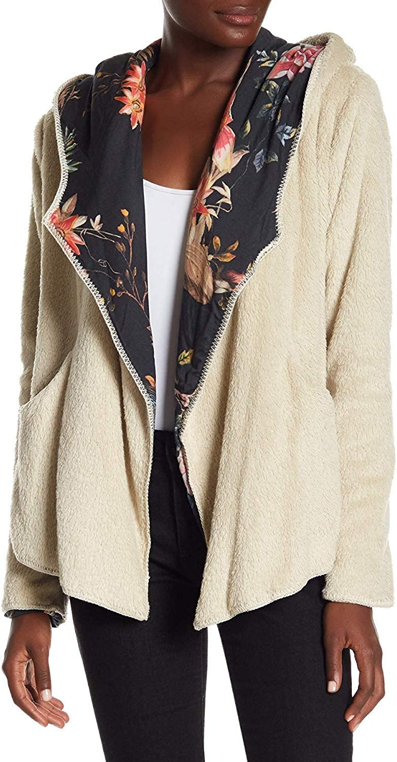 Johnny Was Lorenna Cream Black Hoodie Flower Faux Fur Floral Extra Small XS Jacket New