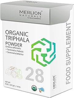 Organic Triphala Powder by Merlion Naturals | Amla, Haritaki and Baheda | 227gm/ 8OZ/ 1/2lb | USDA NOP Certified 100% Organic