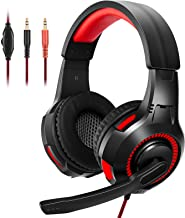Wingstime Gaming Headset,Stereo Wired Over-Head Gaming Headphones with Noise Canceling Microphone & LED Light,Compatible w...