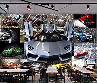 Afashiony Custom Mural 3D Photo Wallpaper Car Sports Car Broken Glass Background Wall Home Decor Living Room Wallpaper for Walls 3D-350Cmx250Cm