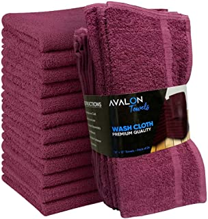 Avalon Towels Cotton Washcloths – 12x12 inches Value Pack of 24 - Made from Premium Ring-Spun Cotton – Highly Absorbent and Soft Feel for Face, Kitchen, and Multipurpose (Plum)