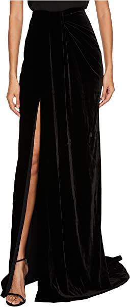 Draped Velvet Sarong Skirt