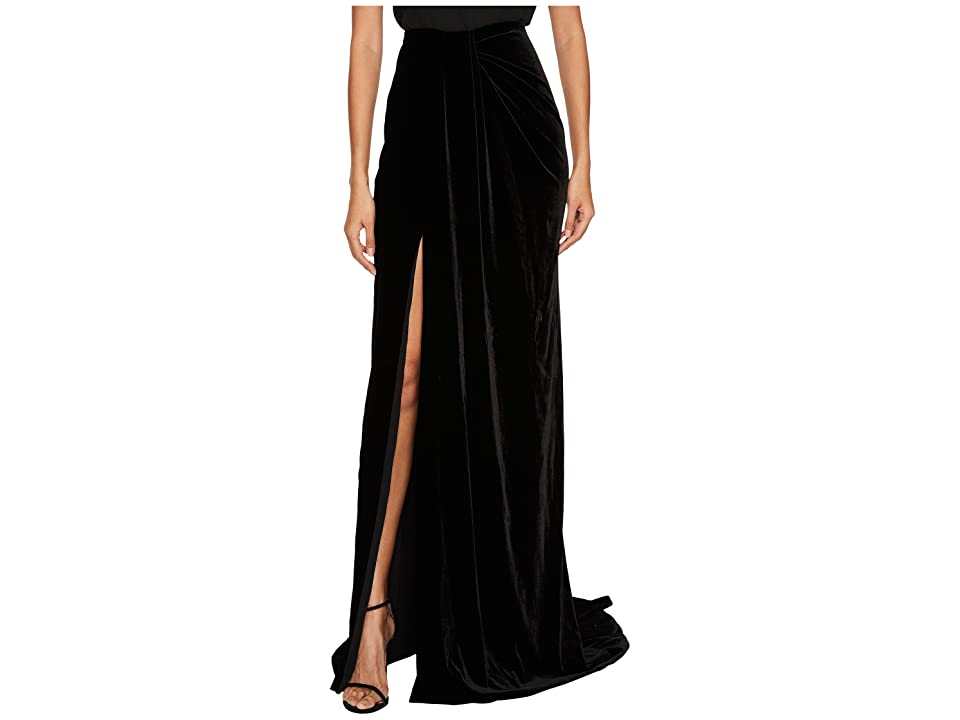 Marchesa Draped Velvet Sarong Skirt (Black) Women's Skirt
