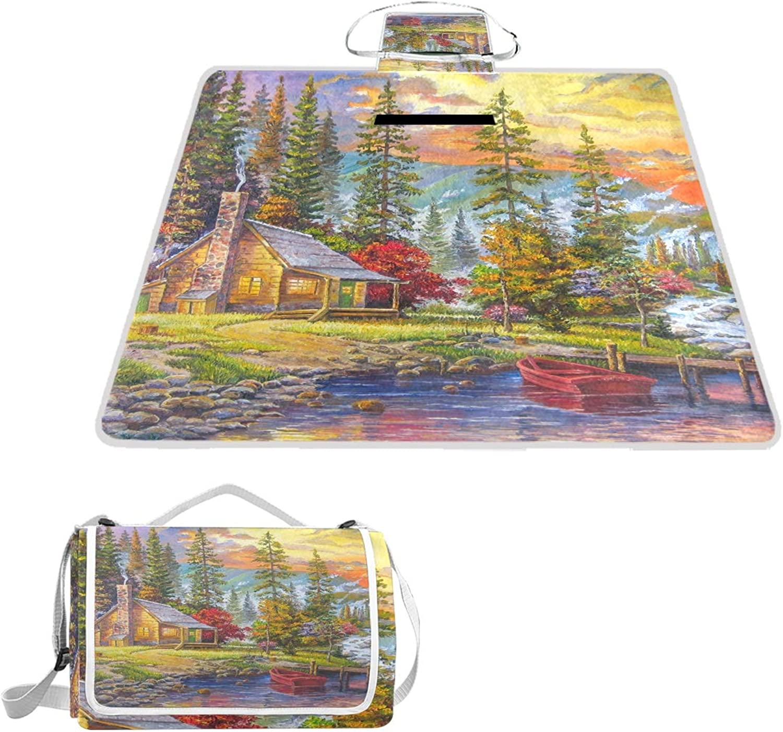 5910f46e54 MASSIKOA The Sunset On Lake Picnic Blanket Waterproof Outdoor Blanket  Foldable Picnic Handy Mat Tote for