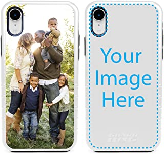 Custom iPhone XR Cases by Guard Dog - Personalized - Make Your Own Rugged Hybrid Phone Case. Includes Guard Glass Screen Protector. (White, Black)