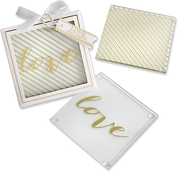 Kate Aspen Love Glass Coasters Gold 48