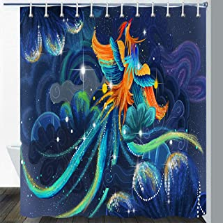 Gdmoon Phoenix Shower Curtain Starry Sky Fantasy Galaxy Colorful Bird Psychedelic Forest Plant Animal Oil Painting Art Blu...