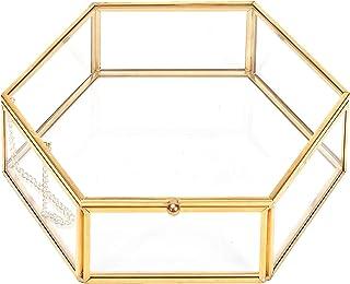 CHICHIC Glass Box Gold Jewelry Box Vintage Jewelry Organizer Decorative Wedding Card Box Golden Hexagon Clear Vanity Dress...