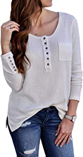 Artfish Womens Henley Shirts Sweaters Button up V Neck Long Sleeve Ribbed Waffle Knit Tops Pullover Blouse