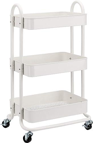 Amazon Basics - Carrito de cocina o multiuso de tres niveles con ruedas en blanco