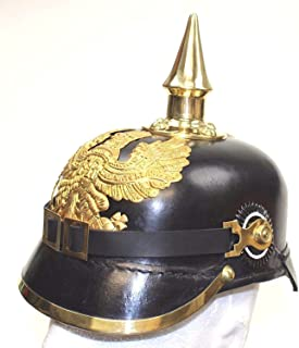 German Pickelhaube Helmet | Leather Pickelhaube Imperial Prussian Helmet | Brass Military Officer Spiked Men's Costume | WWI & WWII Helmets Replica LARP Re-Enactment Party Cosplay Costumes