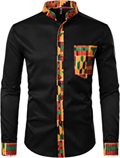 ZEROYAA Men's Hipster African Tribal Graphic Patchwork Design Slim Fit Long Sleeve Button up Mandarin Collar Shirts