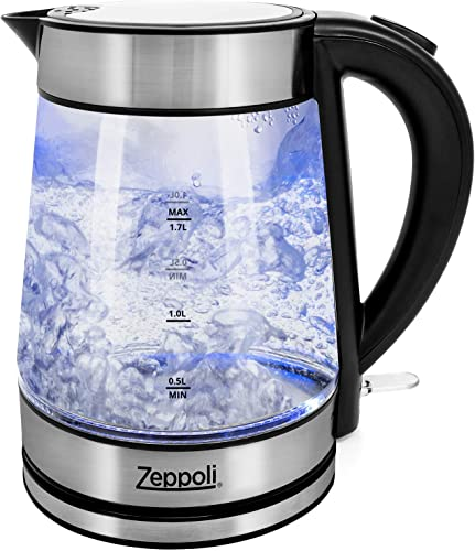 wholesale Zeppoli Electric Kettle - Glass Tea Kettle & Hot Water Boiler - discount Auto Shutoff (1.7L) & 2021 Boil-Dry Protection- Cordless with LED Indicator outlet sale