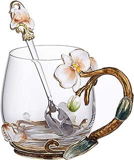 SEMAXE Glass Tea Cup, 11 Ounces, Handmade Orchid