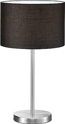 Trio Leuchten 511100102 Lampe avec abat-jour en tissu, 1 ampoule E27 max. 60 W (non incluse) Nickel mat/noir ø 30 cm, hauteur 54 cm