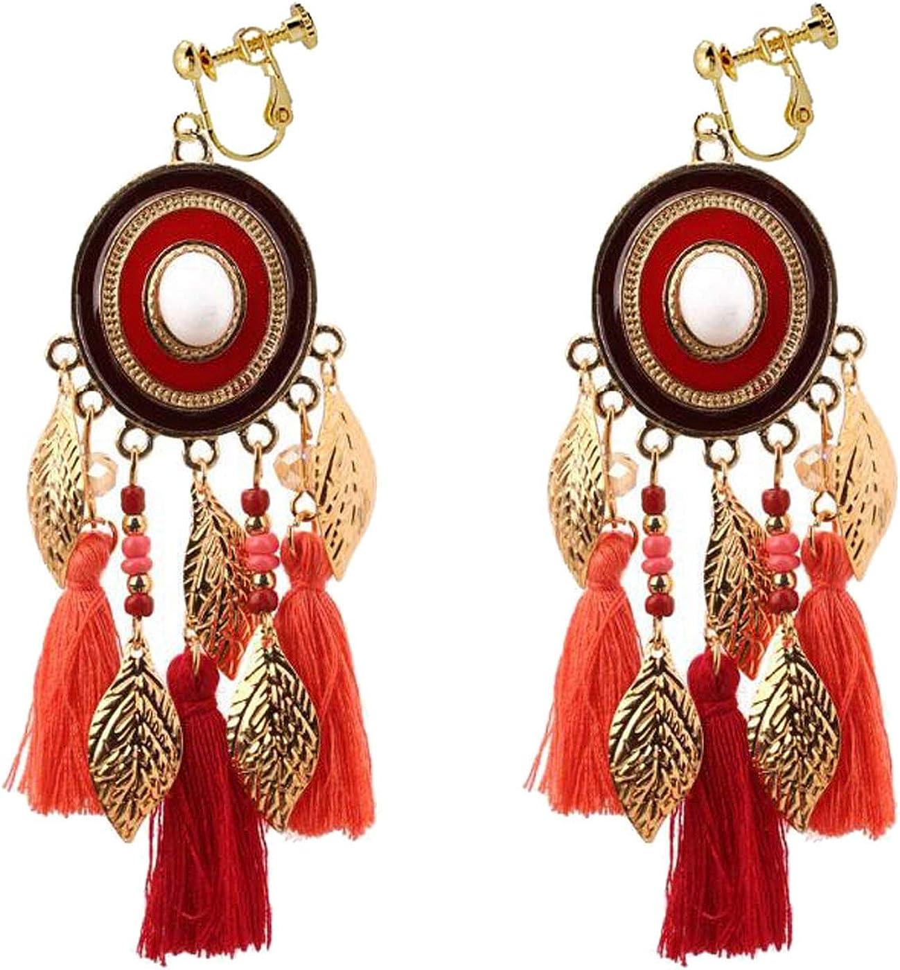 Retro Clip on Earrings Bohemian Earrings for Women Girls Gold Tone Leaf Dangle Drop Silk Thread Tassel Fringe Vintage Statement