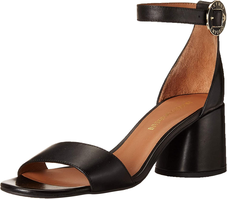 Emporio Armani Women's Block Heel Ankle Strap Sandal Heeled