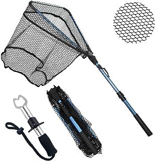 ZHENDUO OUTDOOR Fishing Net Fishing Landing Net Collapsible Telescopic Fishing Nets for Safe Fish Catching or Releasing with Fish Gripper Fishing Gear Tool Set