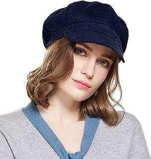 WELROG Beret Corduroy Newsboy Hat for Women Visor Adjustable Winter Octagonal Cap for Ladies