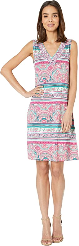 Printed Jersey Sleeveless Beaded Dress