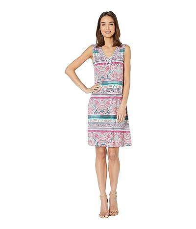 Tribal Printed Jersey Sleeveless Beaded Dress (Dahlia) Women
