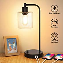 Industrial Table Lamp with 2 USB Ports,Fully Stepless Dimmable Vintage Nightstand Desk Lamp, Seeded Glass Shade Bedside Reading Lamp for Bedroom, Living Room, Office, 6W 2700K LED Edison Bulb Included