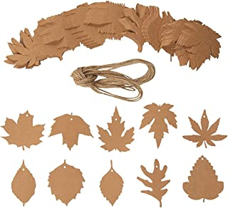 Juvale 200-Pack Fall Leaves Gift Tags with Jute String, 10 Autumn Maple Leaf Designs for Thanksgiving, Wedding, Favors, and Birthday Parties