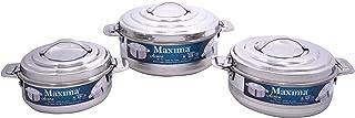طقم الاواني البخارية اكورا صغيرة الحجم من ماكسيما، 3 قطع، بحجم: 1000 + 1500 + 2500 مل