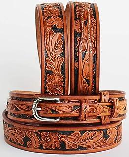 Cinto de couro com tiras Western Ranger esculpido à mão floral Amish EUA 26Ranger11, Tan Black Inlay, 39-40 inches
