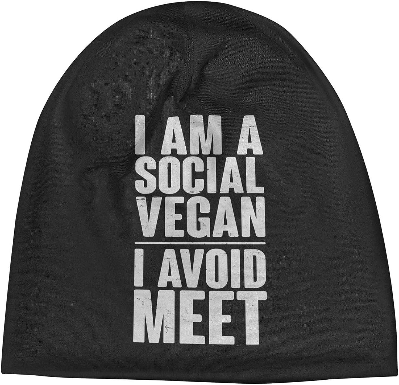 Social Vegan Overseas parallel import regular item I Avoid Meet1 Slogan Beanie Unisex Hats Vi Max 52% OFF Cap Warm