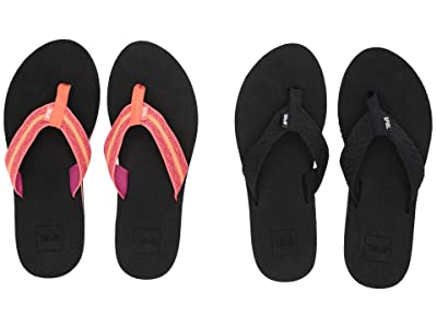 Teva Mush II 2-Pack (Fronds Black/Zoey Coral) Women