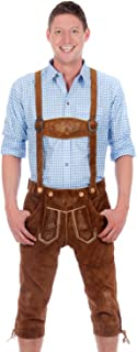 Bavarian Traditional Leather Trousers Lederhosen with Suspenders middlebrown