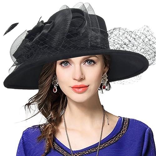 3ef846372262b VECRY Women s Fascinator Wool Felt Hat Cocktail Party Wedding Fedora Hats