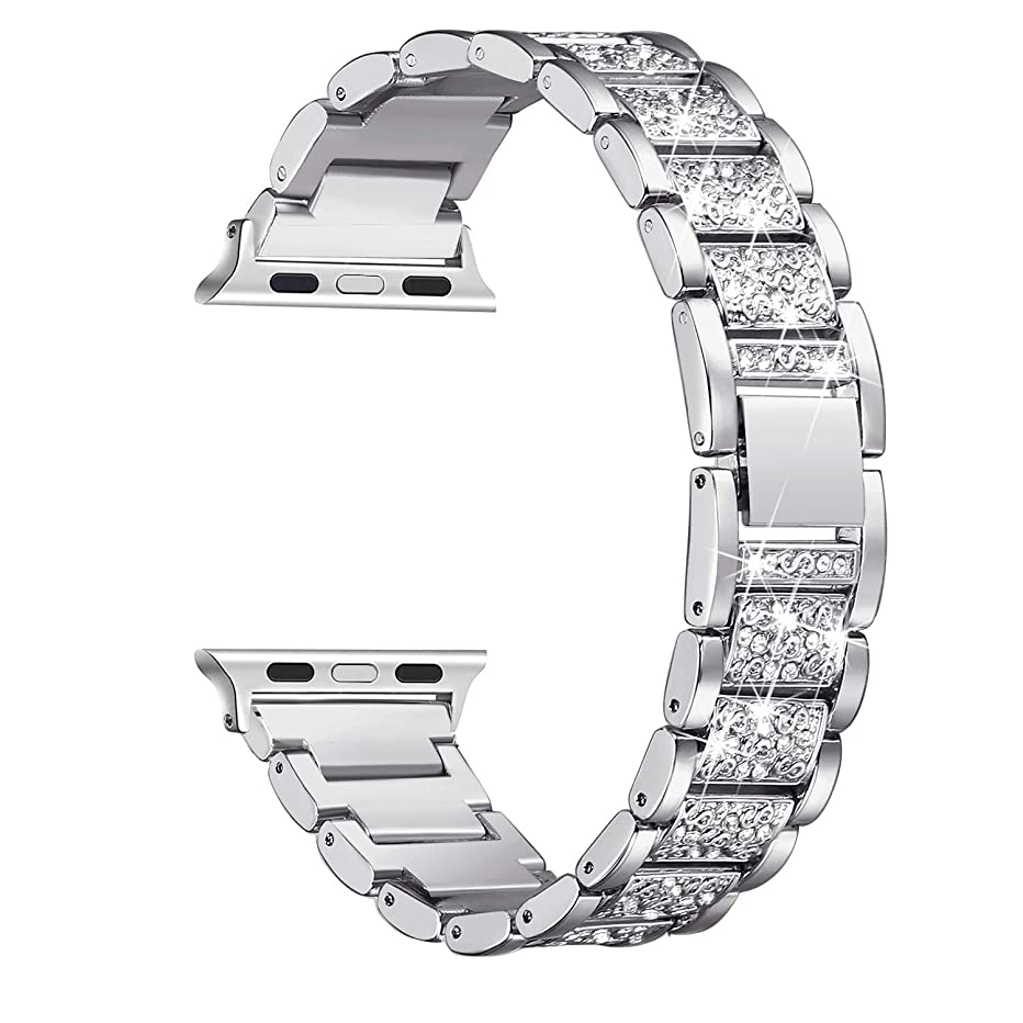 Marketing Engines Bling Compatible/Replacement Apple Watch Band and iWatch Series 4 3 2 1 Bling Rhinestone Stainless Steel Metal Adjustable Band, Silver