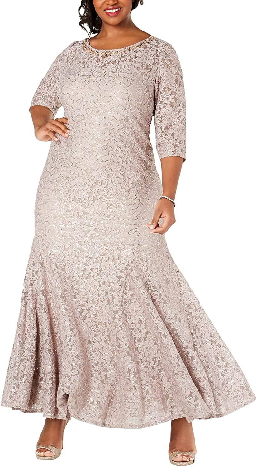 Alex Evenings Women's Plus Size Long Embroidered Fit and Flare Dress