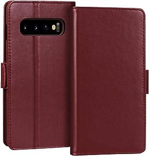 FYY Samsung S10 Case, Luxury [Cowhide Genuine Leather][RFID Blocking] Handcrafted Galaxy S10 Wallet Case, Handmade Flip Fo...