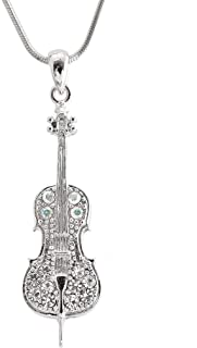 Silver Plated Crystal Cello Necklace