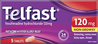 Telfast Hayfever Allergy Relief 120mg - Non-Drowsy - For Sneezing and Runny Nose, 5 Tablets 5 Count